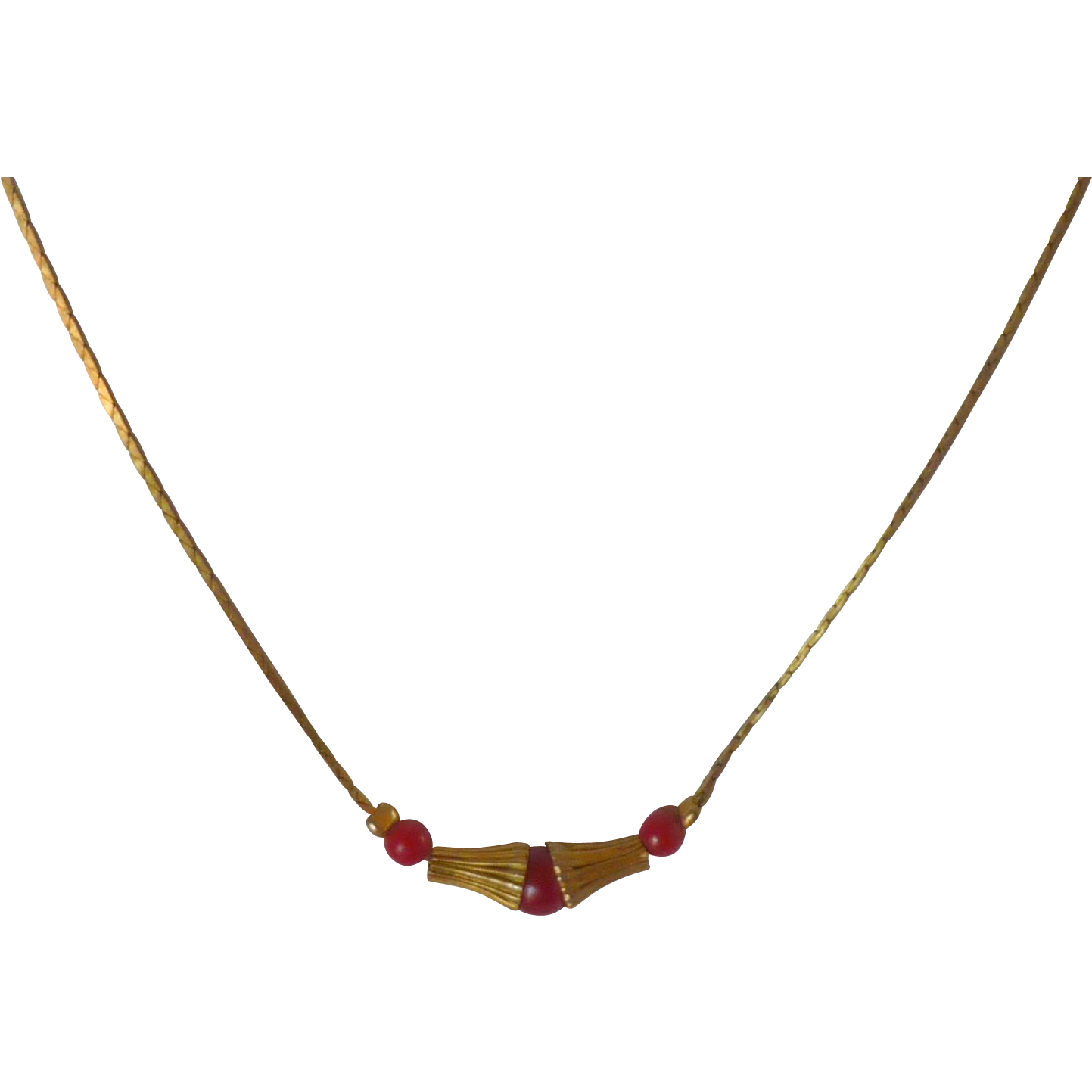 Red Beads and Gold Tone Dainty Necklace