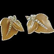Leaf and Diamond Rhinestone Boucher Clip on Earrings