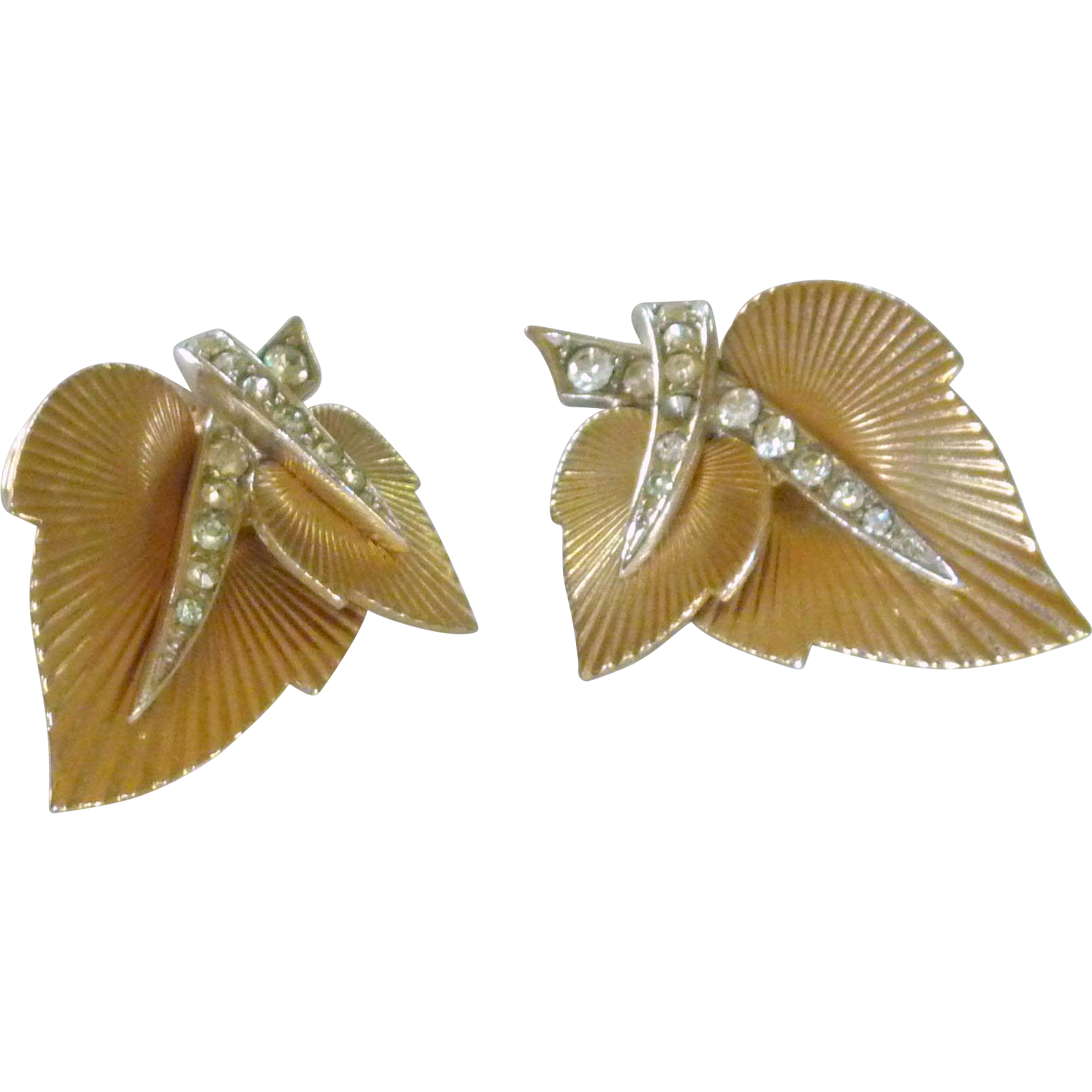 Leaf and Diamond Rhinestone Boucher Clip on Earrings