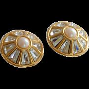 Round Diamond Rhinestone Faux Pearl Clip On Earrings