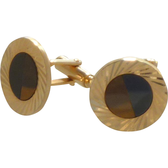 Round Gold Tone Black Onyx Tiger Eye Cufflinks Cuff Links