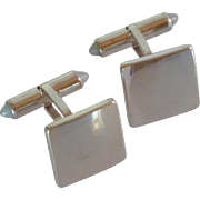 Polished Silver Toned Square  Cuff Links Cufflinks