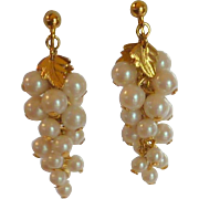 Pearl Dangle Clip On Earrings Gold Tone
