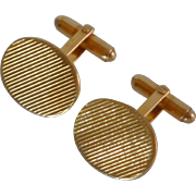 Gold Tone Swivel Ridged Oval Cuff Links Cufflinks