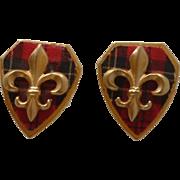 Plaid Tartan Shield with Fleur De Lis Cuff Links Cufflinks