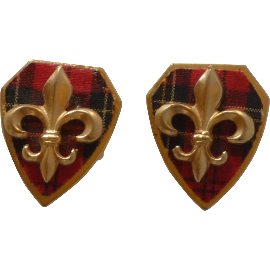 Plaid Tartan Shield with Fleur De Lis Cuff Links Cufflinks