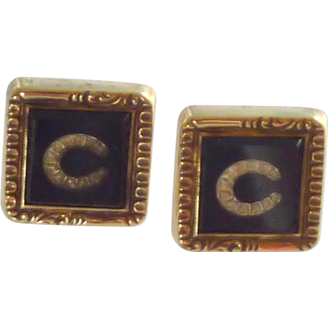 Antique Cuff Links Cufflinks Finger Prong circa 1850