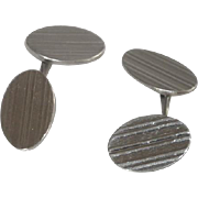Silver Tone Oblong Cuff Links  Cufflinks