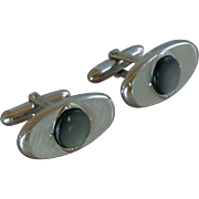 Swank Mother of Pearl Oval Silver Tone Cufflinks Cuff Links