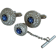 Anson Silver Tone with Blue Stone Center Cufflinks Cuff Links