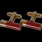 Hickok Red Shot Gun Shell  Gold Tone Cuff Links Cufflinks