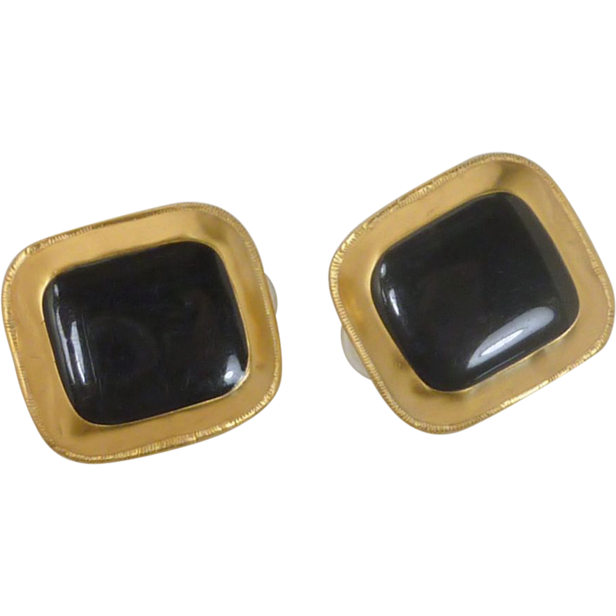 Black Middle with Gold Edging Clip On Earrings
