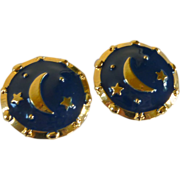 '80's Round Navy Blue Enamel Moon and Stars Earrings