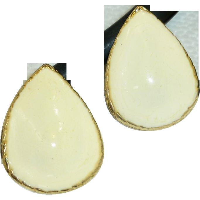 '80's Tear Drop Egg Shell Yellow Enamel Gold Tone Earrings