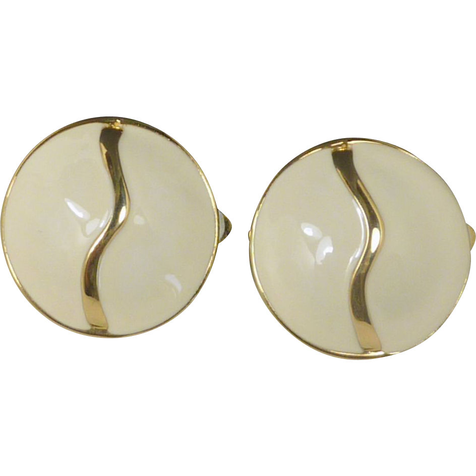 '80's Round White Enamel Gold Tone Earrings