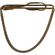 Swank Plain Tie Bar Gold Tone with Chain