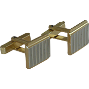 Small Silver and Gold Tone Square Cufflinks Cuff Links