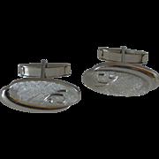 Oval Brushed Silver Tone Cufflinks Cuff Links