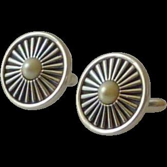 Swank Silver Tone Spoke Wheel Faux Pearl Cufflinks