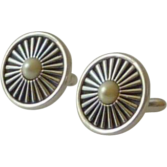 Swank Silver Tone Spoke Wheel Faux Pearl Cufflinks