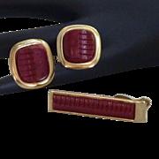 Art Modern 1950's Red Cuff Link Cufflinks Tie Clasp Set