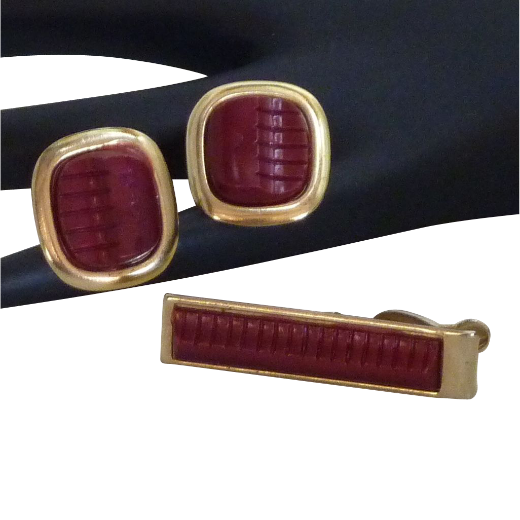 Art Modern 1950's Red Cuff Link Cufflinks Tie Clasp Set