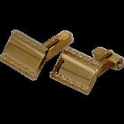 Rectangular Plain Gold Tone Swank Cufflinks Cuff Links