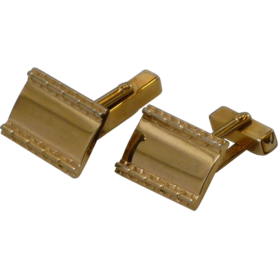 Rectangular Plain Gold Tone Swank Cufflinks Cuff Links