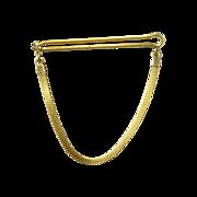 Handsome Plain Flat Snake Gold Tone Tie Bar