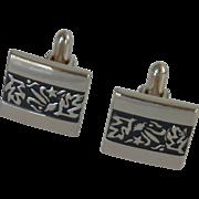 Textured Design Leaves Silver Tone Swank Cufflinks Cuff Links