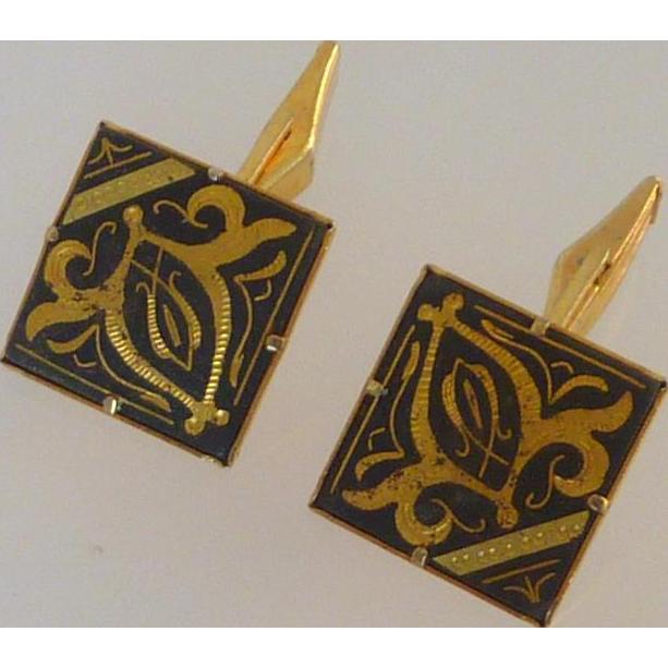 Damascene Square Gold Tone Cufflinks Cuff Links