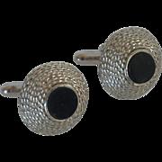 Swank Dome Black Glass Silver Toned Cufflinks Cuff Links