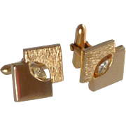 Brushed and Polished Gold Tone Cufflinks Cuff Links