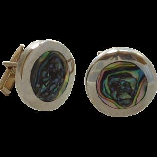 Silver Tone Abalone Shell Round Cuff Links Cufflinks