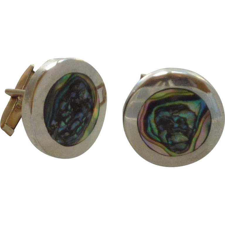 Silver Tone Abalone Shell Round Cuff Links Cufflinks