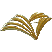 Vintage Monet Signed Gold Tone Wave Pin
