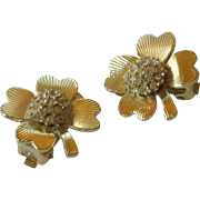 4 Leaf Clover with Diamond Rhinestone Cluster Clip on Earrings