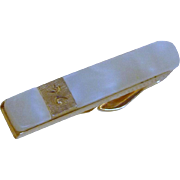 Swank Mother of Pearl Gold Tone Tie Bar
