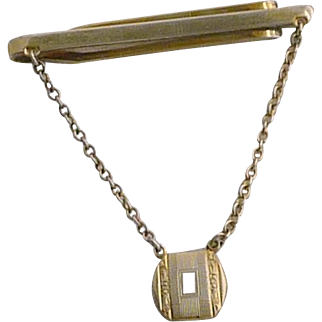 Sterling Tie Bar with Chain Initial