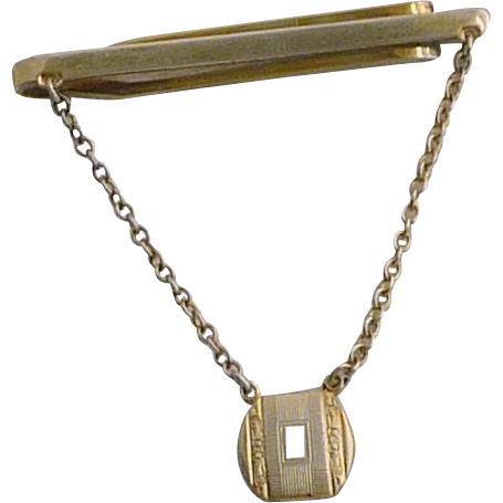 Sterling Tie Bar with Chain and Intial Fob
