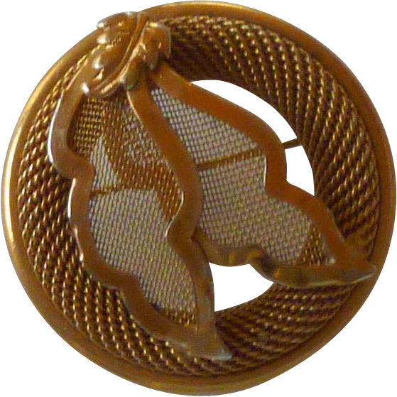 Mid Century Gold Tone Mesh Pin with Leaves