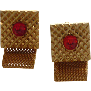 Ruby Red Glass on Gold Tone Wrap Around Cuff Links Cufflinks