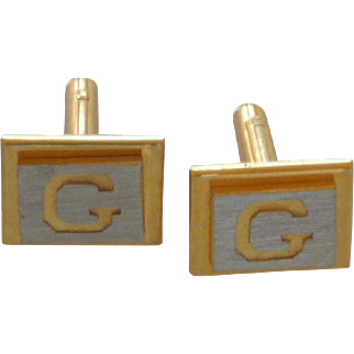 G Initial Gold and Silver Tone Cuff Links Cufflinks