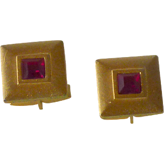 Red Faceted Glass in Gold Tone Cuff Links Cufflinks