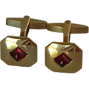 Gold Tone Small 1940's Red Center Cuff Links Cufflinks