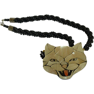 1980's Cat Head Mother of Pearl Black Beaded Necklace