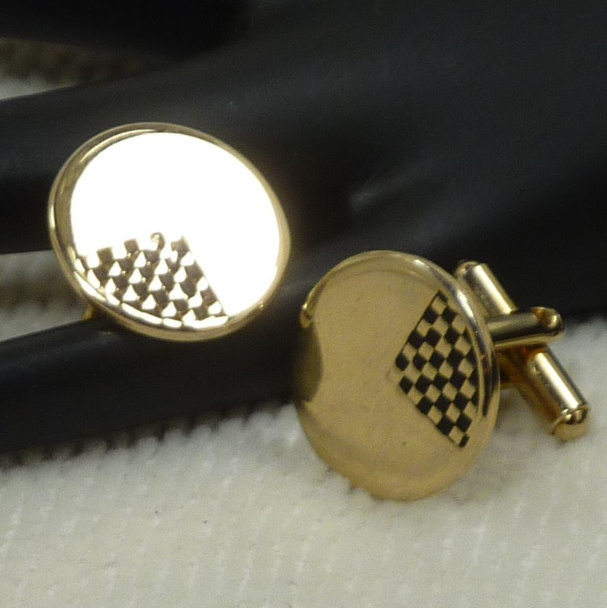 Gold Tone Round Disk Black Accents Cufflinks Cuff Links
