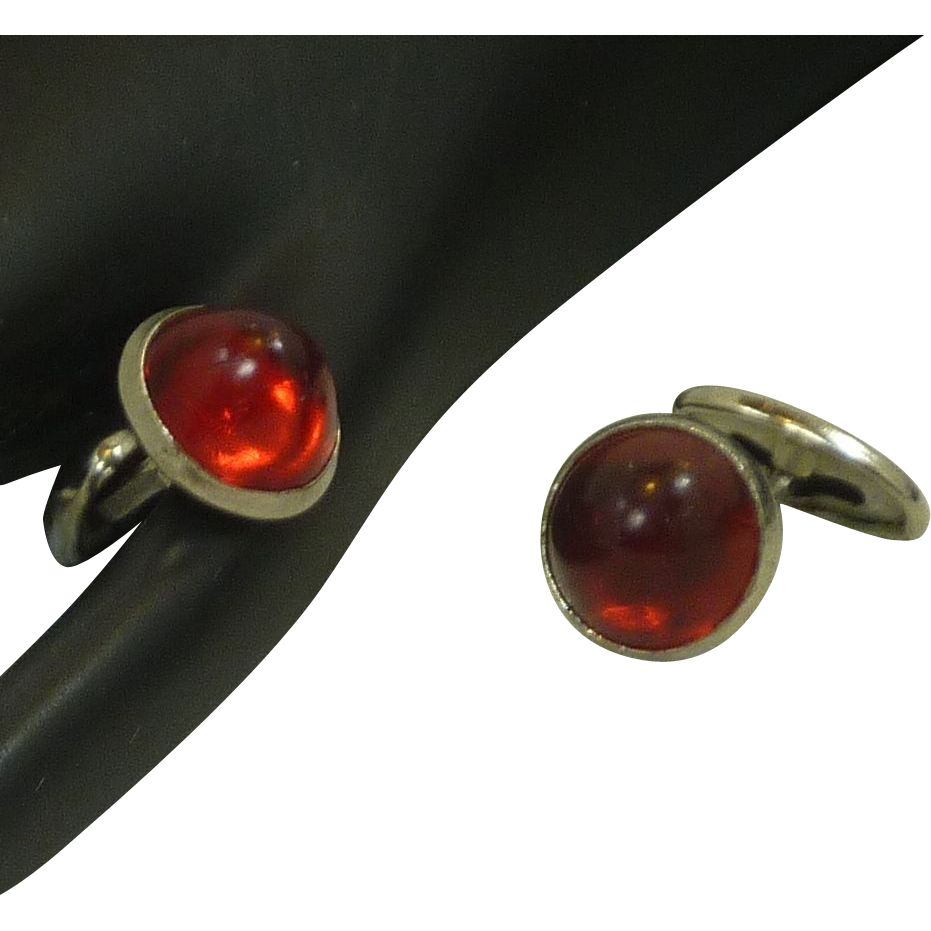 Faux Ruby Red Small Button Cufflinks Cuff Links