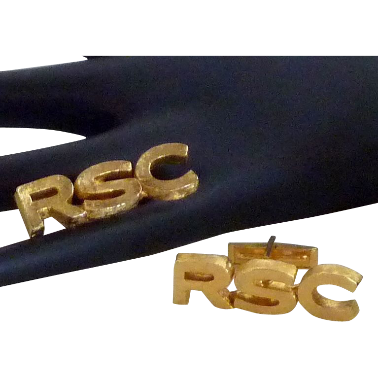 RSC Initials Gold Tone Cufflinks Cuff Links