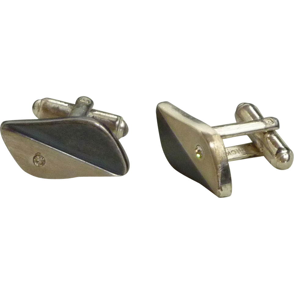 Hickok Silver Tone- Black with Rhinestone Diamond Cuff Links Cufflinks